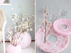 Creative Ideas to recycle paper lanterns …If recycling is your thing … DIY Chinese lantern is one of Chinese New Year Decorations, New Years Decorations, Wedding Decorations, Paper Lantern Centerpieces, Paper Lanterns, Ideas Lanterns, Cherry Blossom Party, Cherry Blossoms, Cherry Blossom Centerpiece