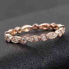 Milgrain Bezel 32ctw Diamond Solid 14k Rose Gold Wedding Eternity Band Ring | eBay