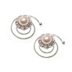 These pearl clips swirl on for long lasting hold and style!Original Rhodium-plated. #MORANA
