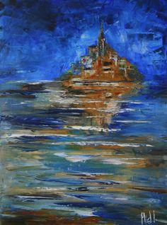 """Tableau """"Baie du Mont Saint Michel"""" - peintures-axelle-bosler : Peintures par peintures-axelle-bosler"""