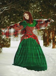 By Mima Kitic I see not 1 tiny teeny bit of historical accury in this mish mash of time peroids.and I still luv it Scottish Dress, Scottish Clothing, Historical Clothing, Tartan Dress, Tartan Plaid, Irish Tartan, Tartan Wedding, Fru Fru, Plaid Outfits