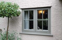 New Double Glazed Wooden Casement Windows - Timber Windows Esher, Surrey Cottage Windows, Cottage Door, Cottage Exterior, House Windows, Cottage Homes, Wooden Casement Windows, Timber Windows, Windows And Doors, Grey Windows