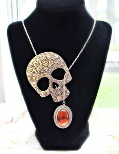 Skull lariat necklace with lake superior agate super cool necklace! by BonfireVintage, $34.80 Lake Superior Agates, Gemstone Jewelry, Unique Jewelry, Cool Necklaces, Lariat Necklace, Skull, Etsy Shop, Diamond, Trending Outfits