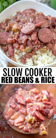 Want pure comfort but don't want to put in the effort? This Slow Cooker Red Beans and Rice is a fix it and forget it classic dish that will feed a crowd. slowcooker crockpot redbeansandrice southern recipe sausage spicy via 442971313347703430 Red Beans And Rice Recipe Crockpot, Crockpot Dishes, Healthy Crockpot Recipes, Healthy Food, Delicious Recipes, Crockpot Meals, Healthy Southern Recipes, Southern Meals, Southern Dinner