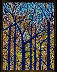 Dreamweaver Stencil Bare Trees (LJ849).  Karen W.  paste embossed with Gold, then a variety of colored glitters applied while paste is still wet.