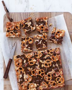Chocolaty Pretzel-and-Peanut Cookie Bars recipe. Wow!