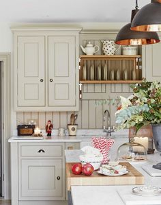 Country Kitchen with Sage Green Shaker Units