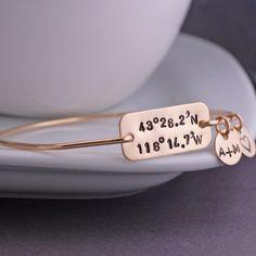 Latitude Longitude Bracelet - Gold from georgie designs personalized jewelry