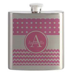 Pink Polka Dot Chevron Monogram Personalized Flask on CafePress.com