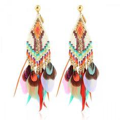 BOUCLES D'OREILLES HUICHOL PLUME #gasbijoux #bijoux #mode #fashion #jewellery #jewel #fantaisiedexception #savoirfaire #faitmain #handmade #bouclesdoreilles #earrings