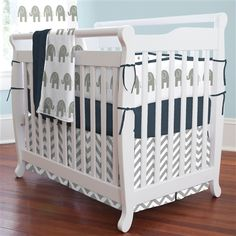 neutral grey baby bedding | Navy and Gray Elephants Mini Crib Bedding | Carousel Designs