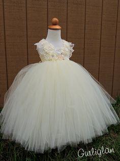 Elegant Lace Straps Ivory flower girl tutu dress by Gurliglam, $175.00