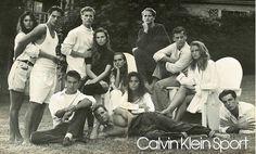 Olivier Anquier, Peter Bjerg, Eric Knorpp, Patrick Muldoon, Ted Stephenson, Lance Palumbo, Antonia Rizo, Cynthia Lamontagne et Serena par Bruce Weber pour la campagne Calvin Klein Sport printemps-été 1988