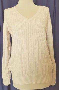 Eddie Bauer Stretch Sweater Womens Medium V Neck Off white Cable Knit #EddieBauer #VNeck