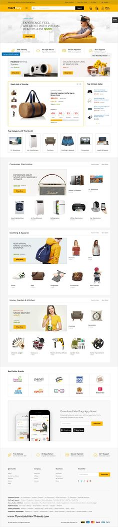 Martfury is clean, flexible and modern design responsive WooCommerce #WordPress theme for multi vendor #marketplace, electronics, furniture, clothings or hitech store #eCommerce website to download & live preview click on image or Visit #webdev