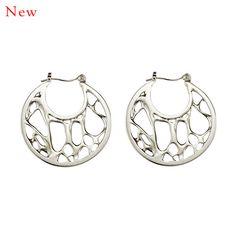 Opuntia Earrings - Medium Framed Open Circle Hoops | Lila Clare Jewelry #sterling #earrings #new #women #jewelry #handmade www.lilaclare.com
