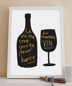 A4 French Wine Print  Kitchen Print by OldEnglishCo on Etsy, £15.00