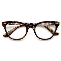 Womens Retro 1950's Fashion Clear Lens Cat Eye Glasses 9276 | zeroUV