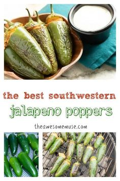 The best southwestern jalapeno poppers are made on the grill. Cut off the tops and remove the seeds, stuff with a cheese mixture, and throw them on the grill. They are so good and super easy to make! Side Dish Recipes, Great Recipes, Recipe Ideas, Favorite Recipes, Cooking Recipes, Healthy Recipes, Grilling Recipes, Delicious Recipes, Snacks Recipes