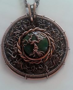 Tree of life * Handmade Copper Wire Pendant with natural Africa Jade