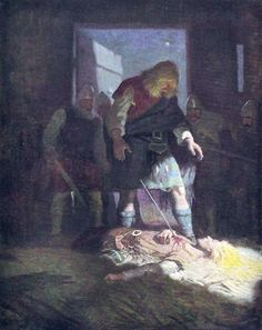 """Death of Edwin: """"The Scottish Chiefs"""" by Jane Porter / Illustrated by N.C. Wyeth  (Scribner, 1941)"""