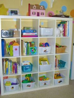 Simple organizing with cheap bookshelves and baskets
