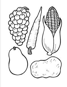 4 Best Images of Free Printable Fruit And Vegetable Templates - Printable Cornucopia Craft, Fruit Template Printable and Cornucopia Food Template Vegetable Coloring Pages, Fruit Coloring Pages, Coloring Pages For Kids, Colouring Pages, Coloring Book, Fruits And Vegetables Pictures, Vegetable Pictures, Thanksgiving Coloring Pages, Thanksgiving Preschool