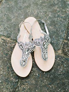 Sandal bridal shoe idea - sparkly flat sandals {Keepsake Memories Photography}