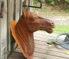 Antique French 1800s Cast Iron Metal Horse Head Trade Sign