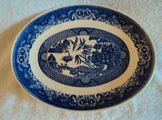 Blue Willow platter by WhiskeysWhims on Etsy