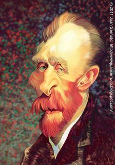 Caricatura de Vincent Van Gogh #biblioteques_UVEG