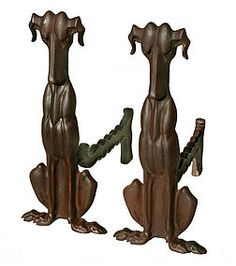 cast iron andirons in the form of Hounds, made by the Tennessee Chrome Plate Company of Nashville, circa 1930 Time Tested, Chrome Plating, Nashville, 1930s, Tennessee, Cast Iron, Nautical, Plate, Antiques