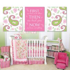 Baby Girl Nursery Art Print - Paisley Nursery Art - Paisley Nursery Decor…