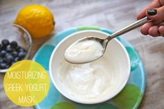 DIY: Homemade Greek Yogurt Face Mask (helps dry skin) -- Combine 2 tbs of plain Greek yogurt – recom organic full fat if you want even more moisturizing benefit, plus 1-2 tsp of honey. Optional add ins -- Squeezed Lemon – the citric acid will also help brighten skin / Blueberries – blend in a few berries for additional antioxidants.