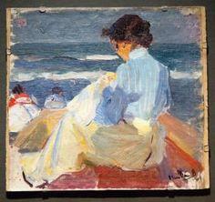 Femme de dos à la mer Joaquín Sorolla – (esquisse petit format – huile sur carton) – 1904
