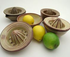 Lemon Lime citrus Juicer in Stoneware pottery... Need to attempt this. Have to figure out how I would want to carve the actual reamer part. (Vertical stripes/diagonal stripes/spiral lines/one of each?)