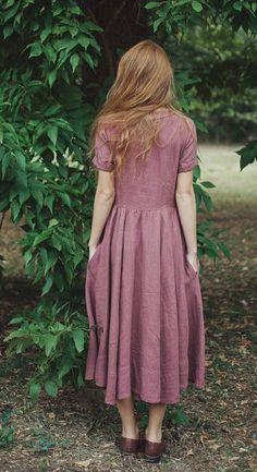 Linen Dress, Dirty Purple, Women Fashion, Hand Made Dress, Women clothing, Maxi… More