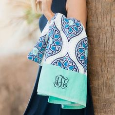 New! Our new Monogrammed Boho Beach Towel is great for the beach, pool and all of your outdoor recreation fun. Also, perfect for your kindergartner or preschooler for school naptime!  www.beaujax.com