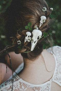 halloween wedding ideas bridal updo with skull hairpins yourschizophrenia via in. Halloween Costumes Women Scary, Halloween Themes, Halloween Makeup, Halloween Weddings, Halloween Halloween, Halloween Wedding Decorations, Halloween Wedding Dresses, Halloween Wedding Invitations, Scarecrow Makeup