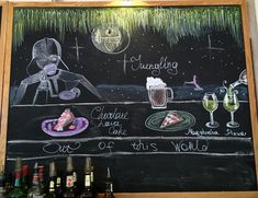 Chalkboard art chalk Cafe bar darth Vader Liquid chalks drawing