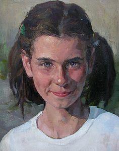 """P1329"" - Chris Zhang {contemporary figurative chinese art beautiful female head young girl face portrait painting} chriszhangstudio.com"
