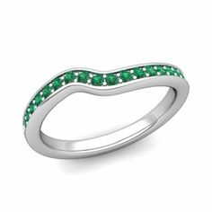 Customized wedding ring in curved wedding band setting with your choice of diamonds or natural gemstones in or white, yellow or rose gold and platinum. Emerald Wedding Rings, Custom Wedding Rings, Curved Wedding Band, Wedding Band Sets, Wedding Rings For Women, Red Wedding, Wedding Ideas, Wedding Stuff, Wedding Inspiration