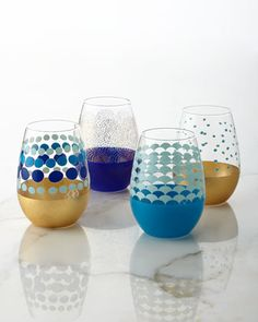 Dot Stemless Wine Glasses, 4-Piece Set at Neiman Marcus.