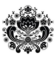 Norwegian folk art bunad black pattern vector by RedKoala on VectorStock®