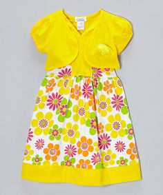 Look what I found on #zulily! Yellow Daisy Dress & Shrug - Toddler & Girls by Littoe Potatoes #zulilyfinds
