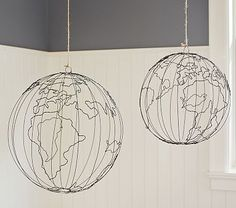 Wire Hanging Globe | $49 small | $59 large. Wire globe sculpture. This would be an easy DIY project. Kids room accessory.