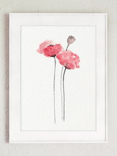 Baby Pink Nursery Floral Wall Decor Abstract by ColorWatercolor