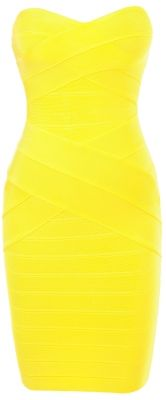 'Leyla' Yellow Strapless Bandage Dress