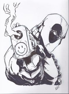 Deadpool is kinda my favorite comic book character. Well, Spiderman first and then Deadpool :) Comic Book Characters, Comic Character, Comic Books Art, Comic Art, Book Art, Comic Book Drawing, Comic Book Tattoo, Dead Pool, Character Drawing