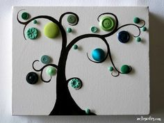 tree with buttons, on canvas